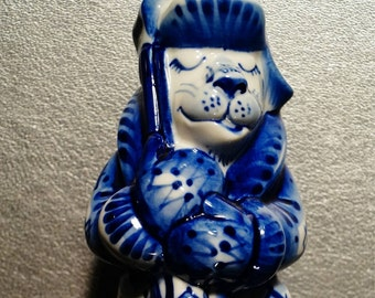 figurine Dog GZHEL Dog-guard porcelain handmade hand painted Souvenirs Russia