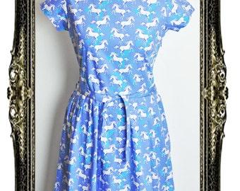 Vintage Inspired Retro Unicorn Print Tea Dress
