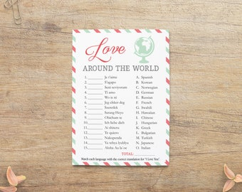 I Love You Different Languages Game, Travel Wedding Shower Games, Airplane Theme, Traveling Bridal Shower, Coral Pink Mint, PT Printable