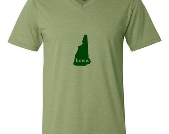 HOME Men's T-Shirt - Men's Jersey Short-Sleeve V-Neck T-Shirt - State Silhouette Men's Shirt - Available in all 50 states