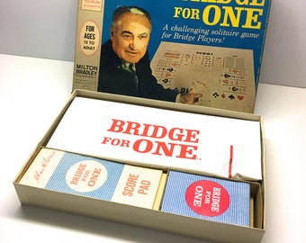 "Vintage ""Bridge for One"" by Milton Bradley, 1967 - Retro 1960s Solotaire Card Game - COMPLETE"
