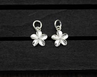 Karen Hill tribe sterling silver flower charm, flower pendant,silver flower charm,DIY Findings for Bracelet and Necklace