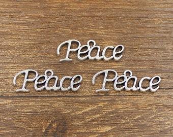 30pcs Peace Charm Antique Silver Tone 29x10mm - SH244