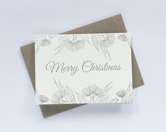 SALE to make way for new stock: Letterpress Merry Christmas Australian Botanical Greeting Card in Silver