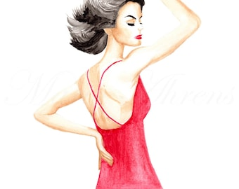 Vintage Inspired Fashion Model Illustration Print, Watercolor Painting Giclee Print, 8X10 Decor Artwork