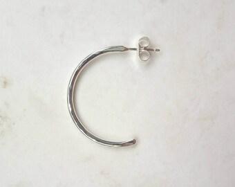 Silver Half Hoop Pair of Earrings - Hammered Hoop Earrings - Sterling Silver Hoop Earrings - Silver Stud Hoops