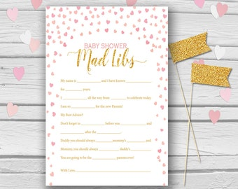 Gold & Pink Baby Shower Mad Libs, Hearts Baby Shower Games, Advice game, Baby game madlibs, Baby shower activities, Hearts