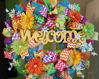 Spring Wreath, Summer Wreath, Everyday Wreath, Welcome Wreath, Whimsical Wreath