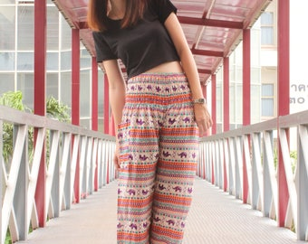 Small elephant Red pants Gypsy trousers Rayon pants Hippie clothing Music festival Harem trousers Beach pants