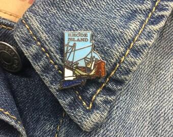 Vintage Rhode Island enamel lapel pin (stock# t16) hat pin, hat pins, state pin, brooch, enamel pin, new england