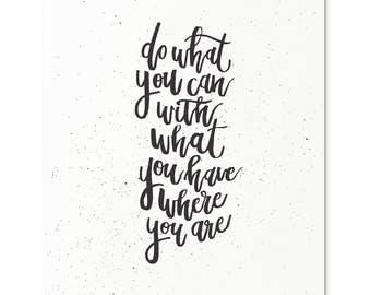 Eleanor Roosevelt Quote, Handlettering Art Print, Watercolor Calligraphy