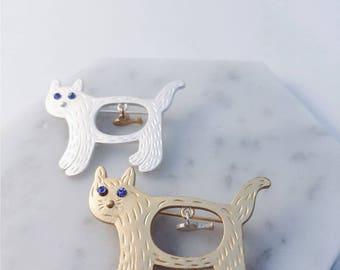 Hungry cat brooch; fish in tummy brooch; cat lover; cat with fish brooch; cat pin; fish pin; cat accessories