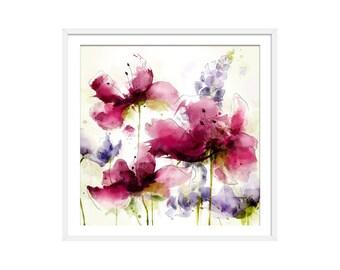 Floral Art Print. Flower Print. Flower Painting. Floral Painting. Pink Flowers. Purple Flowers. Square Floral Wall Art. Wall Decor