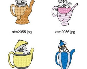 Teapot-Pups ( 7 Machine Embroidery Designs from ATW ) XYZ17C