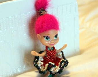 Colorful beaded dress for pink-haird doll (comes with doll); cute, dancing, handmade, beadweaving, Art&collectibles, Dolls-miniatures