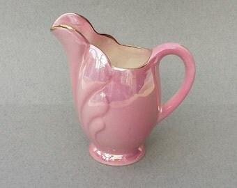 Vintage Maling Lustreware Pink Milk Jug Mid Century