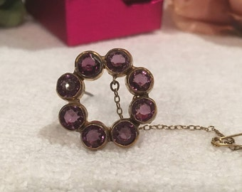 Most Exquisite Antique Vintage Victorian Rolled Gold-AMETHYST Round Brooch/Pin-Lovely Design-With Safety Chain-Excellent Condition