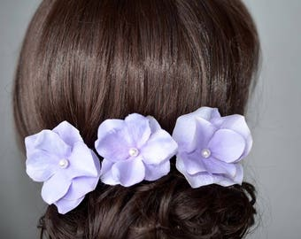 Set of 3 Handmade Lavender Hydrangea Flower Hair or Bobby Pins, Bridal, Wedding (Pearl-801)