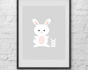 Rabbits Nursery Print, Nursery Print, Art Print, Print Art, Digital Print, Poster, Minimalist Poster, Poster Art, Poster Print, Art Poster