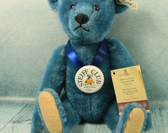 Steiff Club Edition Vintage Limited Edition Mohair Blue Growling Growler teddy bear with original box, all tags and certificate