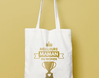 "Tote bag mother's ""Best MOM in the world"" - MOM, cotton tote bag, white shopping bag gift"