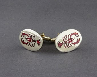 Vintage Red Enamel Lobster Cufflinks