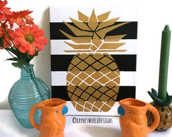 Black And Gold Wall Art gold pineapple art   etsy