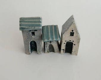 Miniature houses, Ceramic house, Little house, Small house, Clay house, Miniature fairy house, Ceramics and pottery, tiny house, sculpture