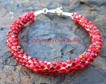 Brilliant ruby red Kumihimo Bracelet