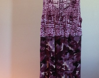 Womens Upcycled Casual Boho Tunic Dress Knit Size L Purple