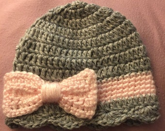 Homemade Baby Girl Crocheted Hat with Bow (Newborn - 5yrs)