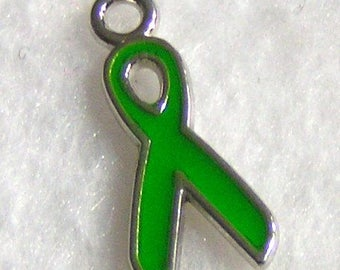 6 Ea GREEN Awareness Ribbon Charms. ADJ0038