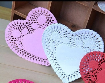 heart shaped paper doilies