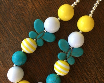 Teal/Aqua and Yellow Spring Butterfly Chunky Bubblegum Bead Necklace