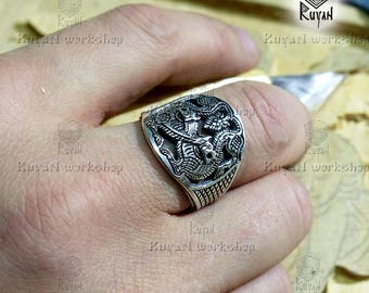 Wolves ring. Wolf ring. Viking bronze jewerly. Wolves head ring. Viking ring. Odin Wolves