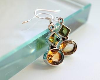 Yellow gift mom, Birthday jewelry gift wife, Boho earrings gift women, Anniversary jewelry wife, August November Birthstone Citrine, Peridot