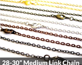 Necklace Chain, 28 inch, Bronze, Silver, Black, or Copper, Replacement Chain, Layering, Necklace Chains Bulk, Adjustable Length, Wholesale