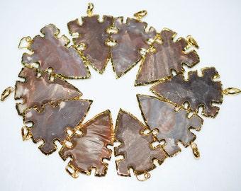 1 Pc Jasper Arrowhead Pendant - Jasper Arrowhead Electroplated With 24K Gold Plated Pendant, 58 - 61 mm , AH179