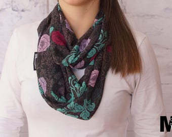 Infinity scarf thin grey with purple/Fuchsia flower pattern