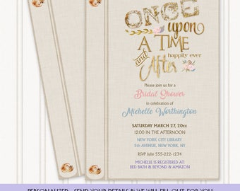 Once Upon a Time Happily Ever After Fairy Tale Story Book Invitation | Ivory Linen Gold | Personalized Digital Invitation