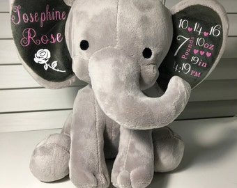 Personalized Stuffed Elephant/Birth Announcement