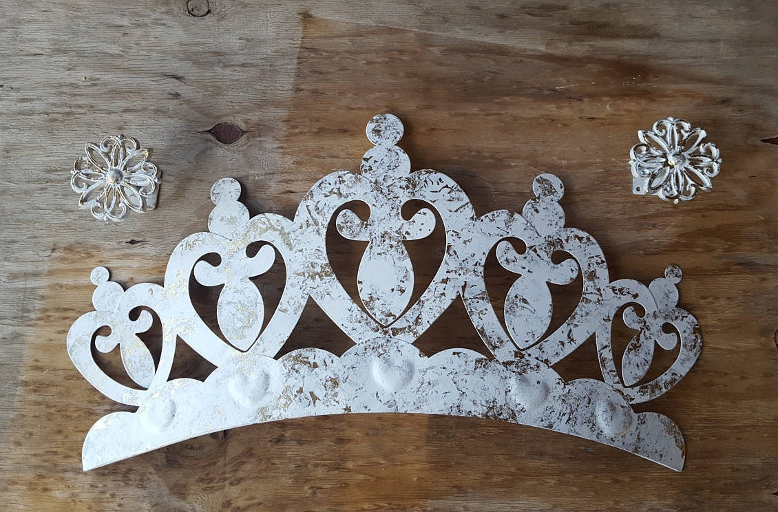 Crown Decoration For Wall : Huge gold and white crown wall decor with tie backs nursery