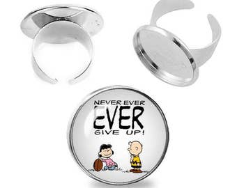 Charlie Brown Lucy van Pelt Ring Adjustable ring Never ever give up Snoopy Jewelry Fanboy Fangirl