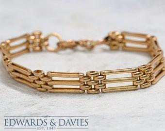 Gold Antique Link Bracelet | Fancy Link Bracelet | Womans Gold Bracelet | Antique Jewelry | Antique Jewellery | Vintage Bracelet | Gold