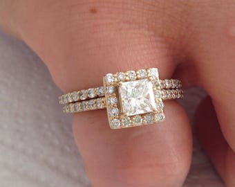 Certified 2.25 CT Princess Cut and and Round Cut Diamond engagement Ring 14k yellow gold  hand made