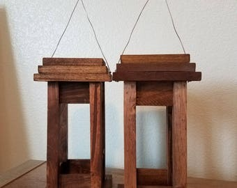 Wooden lantern, rustic decor, lantern, wooden, home decor, set, pair, hanging lanterns, rustic wedding, decor, wedding decor, wedding gift