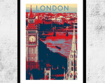 London Art Print, Shepard Fairey-Hope Poster Inspired Print, London wall art