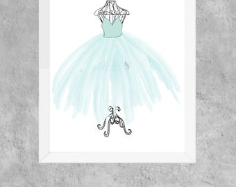 blue, tutu, ballerina, ballet, french, printable, girls, playroom, nursery, wall art, decor, room,