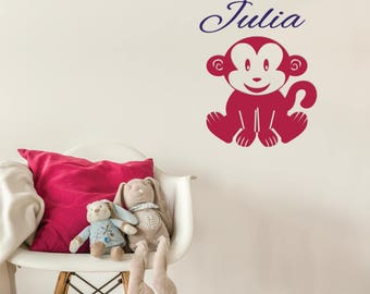 Vinyl sticker mural for children • monkey with custom name and colors. Monkey