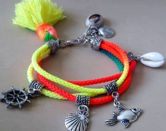 Tassel anklet, Boho Colorful charms ankle jewelry, Little girls Ibiza style anklet with neon colors cotton cord,